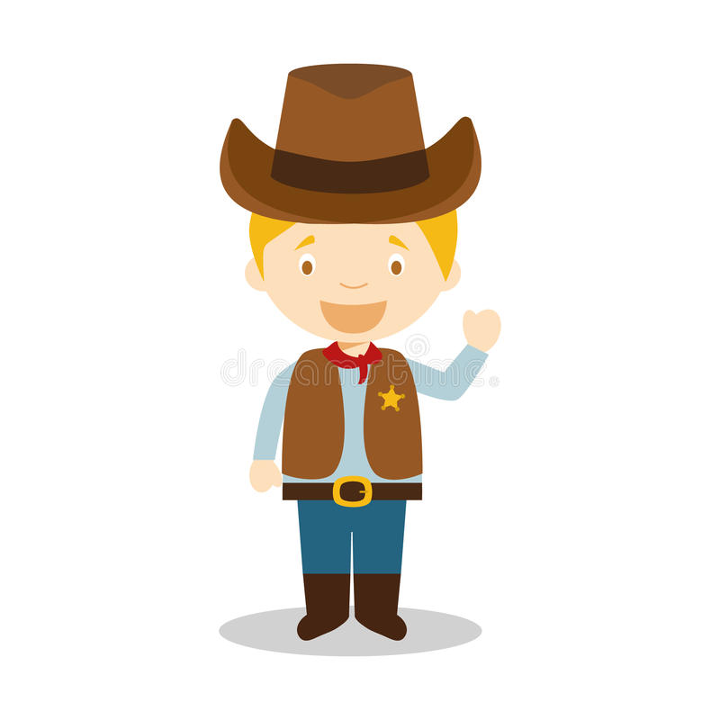 Cowboy character from USA dressed in the traditional way. Vector Illustration. Kids of the World Collection royalty free illustration