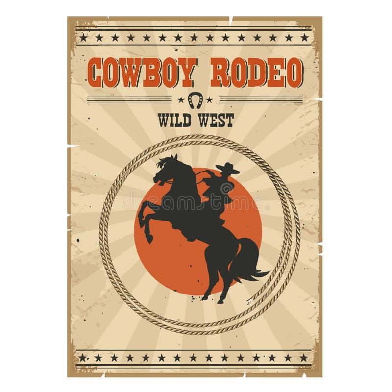 Cowboy che monta cavallo selvaggio Manifesto d'annata occidentale del rodeo con testo illustrazione vettoriale