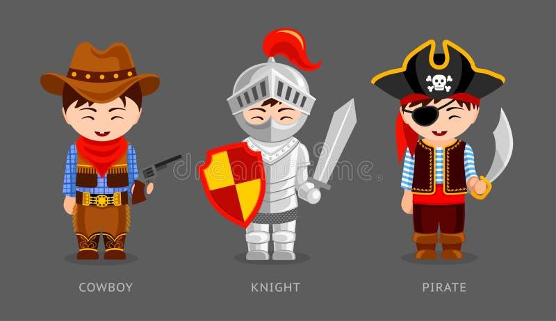 Cowboy, chevalier, pirate illustration de vecteur