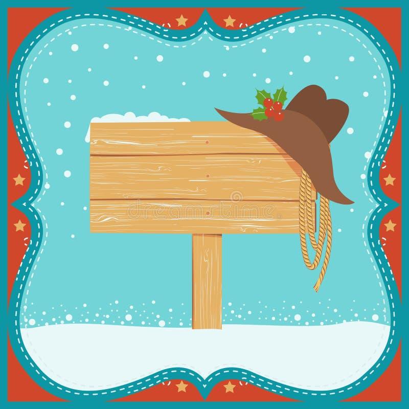 Cowboy-Christmas-Karte mit Westhut und Holz verschalt Hintergrund lizenzfreie abbildung