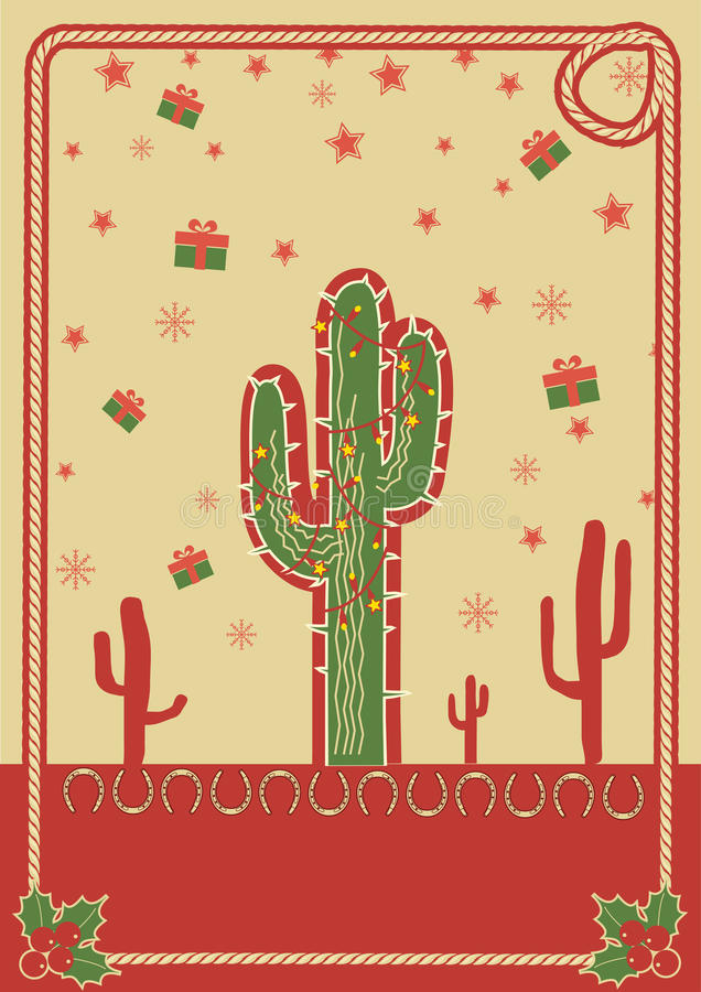 Cowboy christmas poster with cactus and rope vector illustration