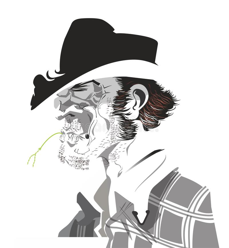Cowboy close up. Black and white picture of a rustic cowboy. Rustic american cowboy profile with straw in his mouth. Tough country man stock illustration