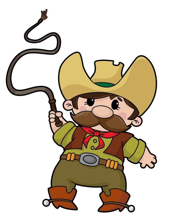 Cowboy com chicote ilustração stock