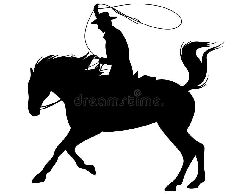 Cowboy com lasso ilustração stock