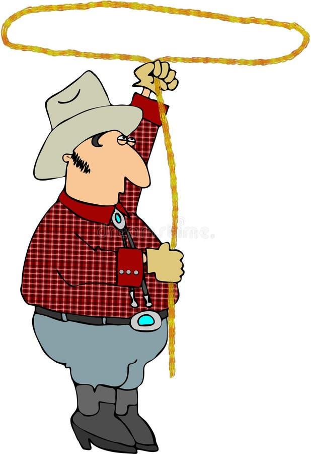 Cowboy com um Lariat ilustração royalty free