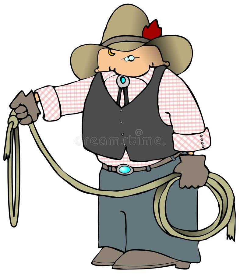 Cowboy com um Lariat ilustração stock