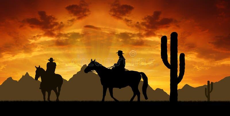 Cowboy con i cavalli fotografie stock