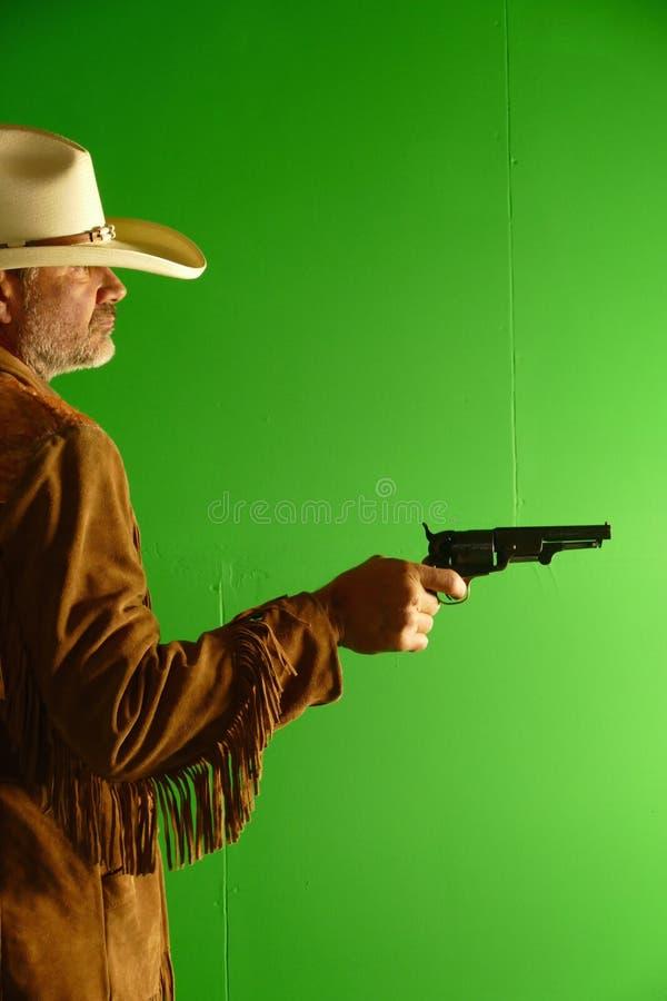 Cowboy con il puledro del disegno del cappello fotografia stock
