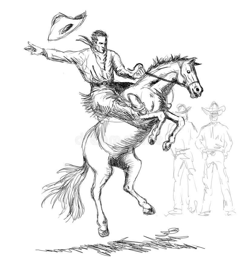 Cowboy conduisant cheval sauvage s'opposant illustration libre de droits