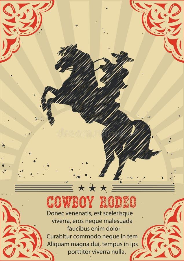 Cowboy conduisant le cheval sauvage Fond occidental d'affiche de vecteur illustration stock