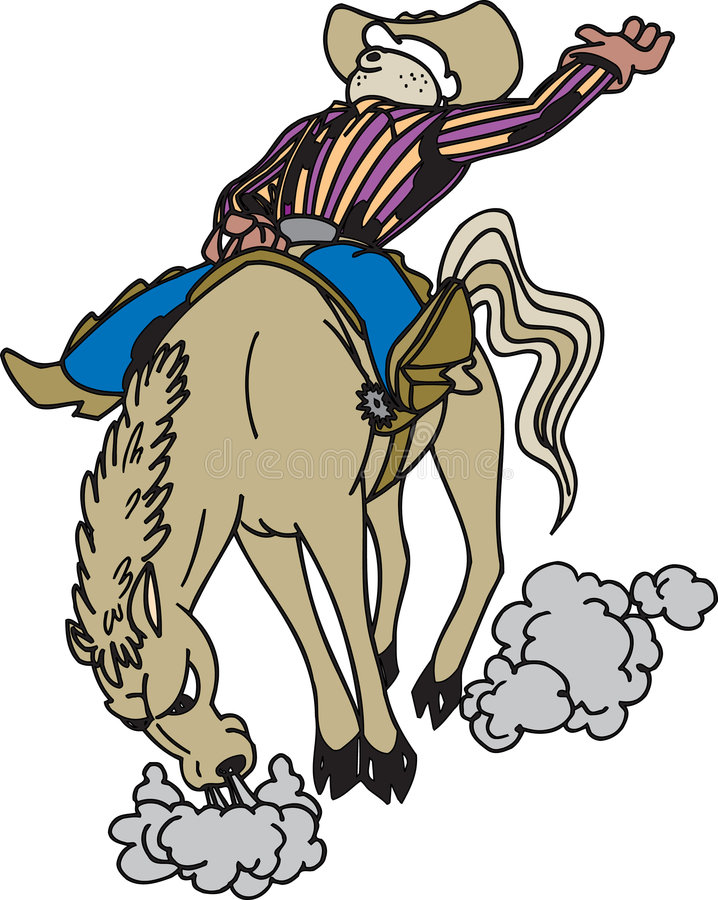 Cowboy conduisant un cheval illustration de vecteur