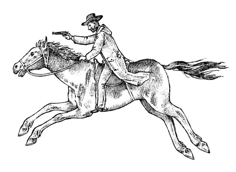 Cowboy conduisant un cheval Icône occidentale de rodéo, Texas Ranger, shérif dans le chapeau Ouest sauvage, style campagnard Main illustration stock