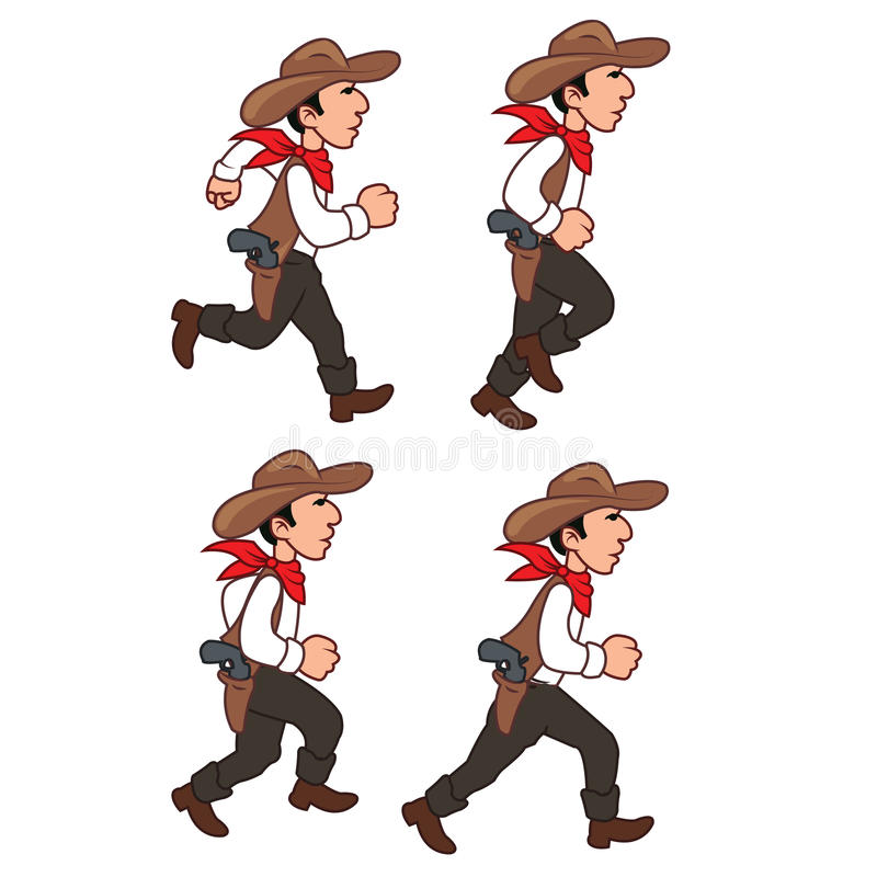 Cowboy corrente Sprite illustrazione di stock