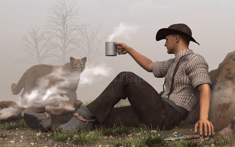 Cowboy and Cougar stock illustration