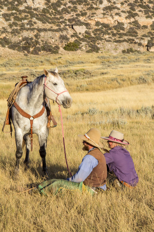 Cowboy and Cowgirl Sitting in Grass Holding Horse stock image