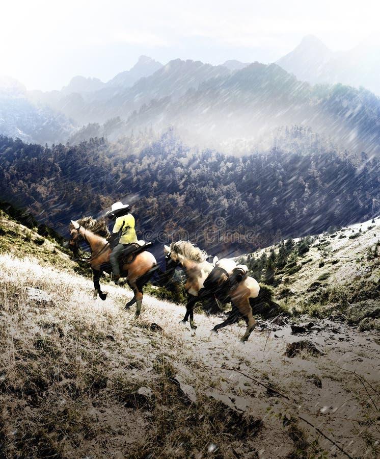 Cowboy croisant les hautes terres illustration stock