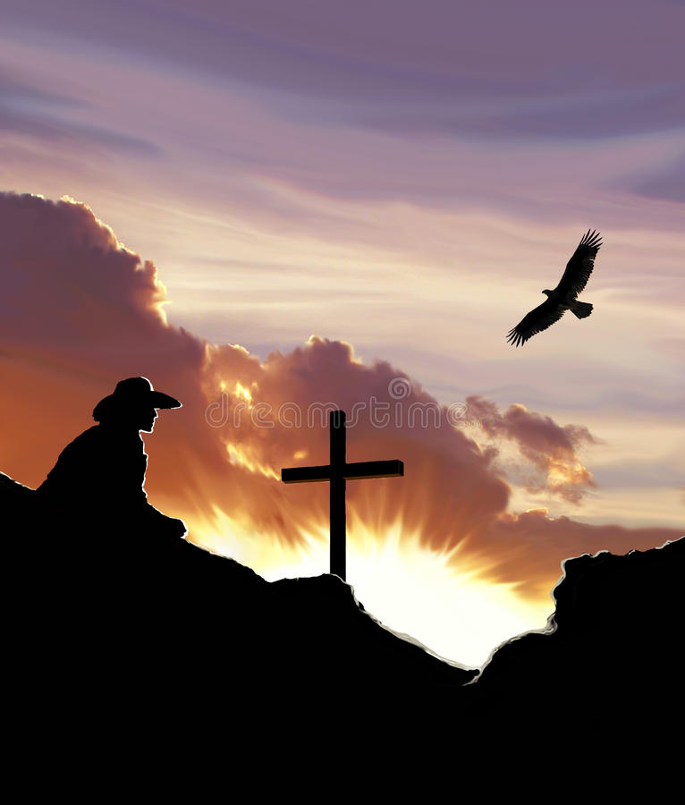 Cowboy with cross and sunset graphic. Contemplating losing a loved one royalty free stock images