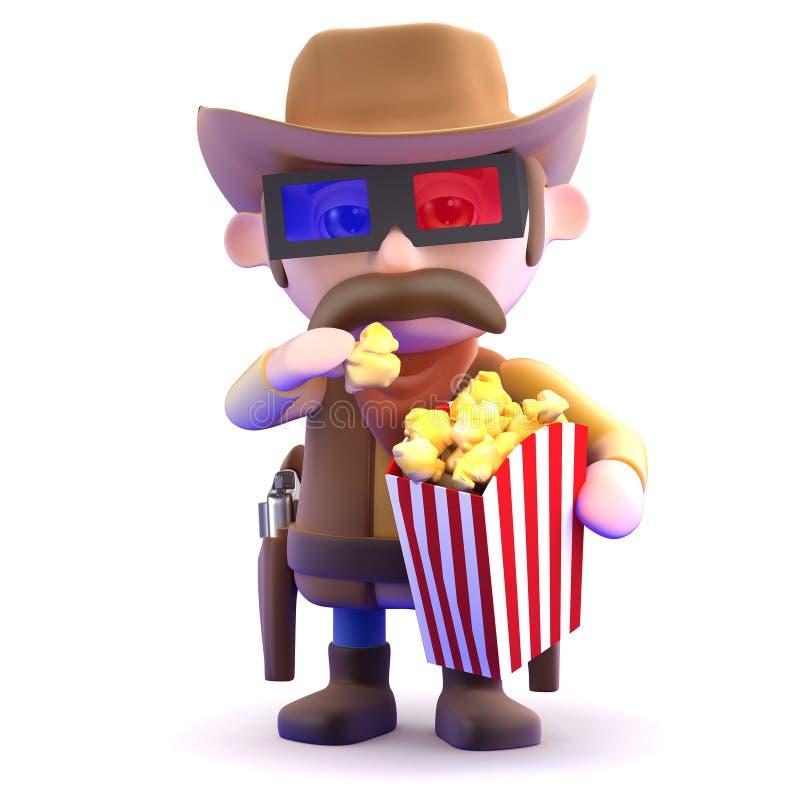 cowboy 3d aux films illustration stock