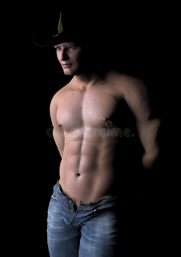 Cowboy in the dark. A male model in his pose royalty free illustration