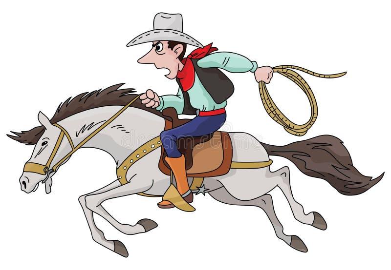 Cowboy de bande dessinée montant son vecteur rapide de cheval illustration libre de droits
