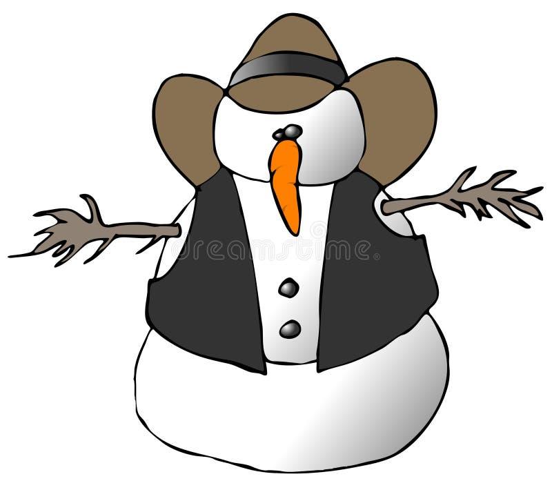 Cowboy de bonhomme de neige illustration stock