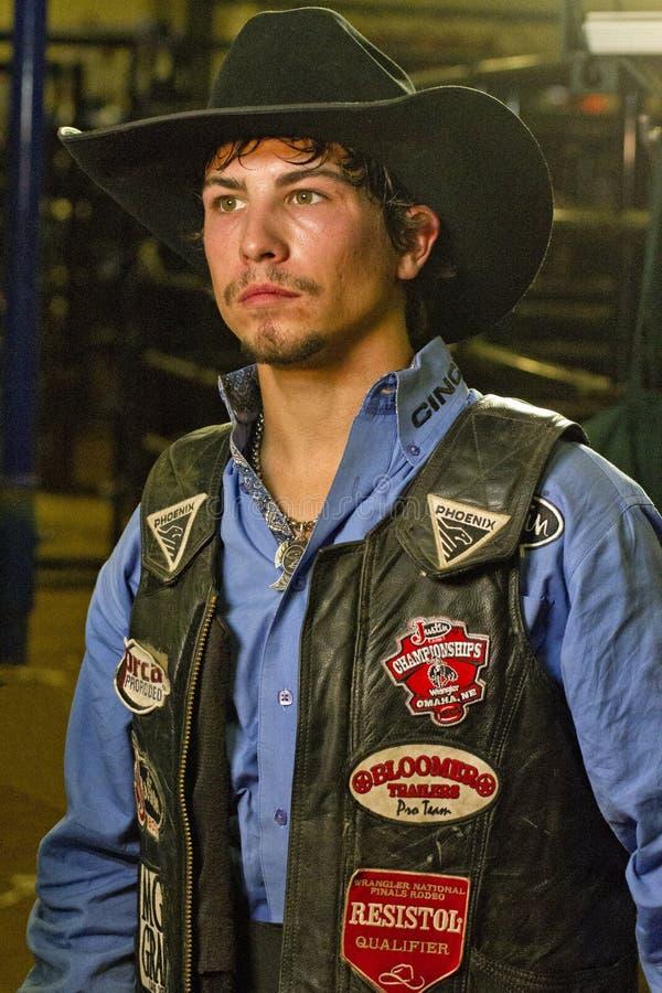 Cowboy de cavalier de taureau de rodéo photos libres de droits