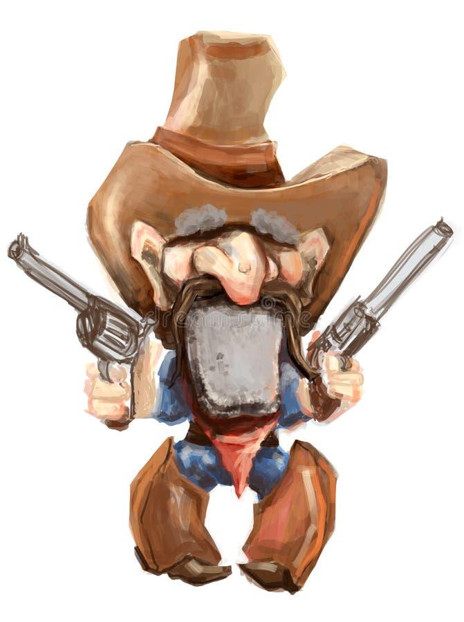 Cowboy de dessin animé avec ses canons dessinés illustration de vecteur