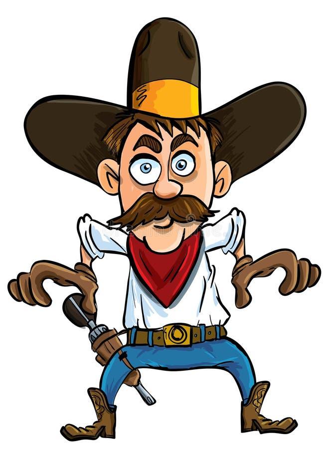 Cowboy De Dessin Animé Prêt à Dessiner. Illustration Stock - Illustration du chapeau, objet ...