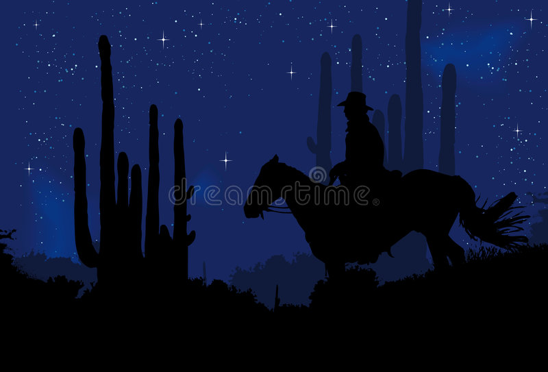 Cowboy in de nacht vector illustratie