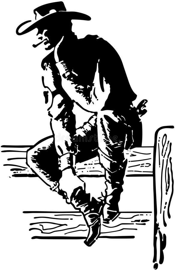 Cowboy de rodéo illustration libre de droits