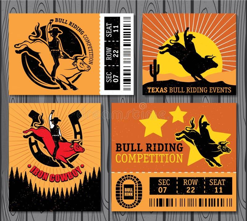Cowboy de rodéo montant un taureau, rétro affiche de style illustration libre de droits