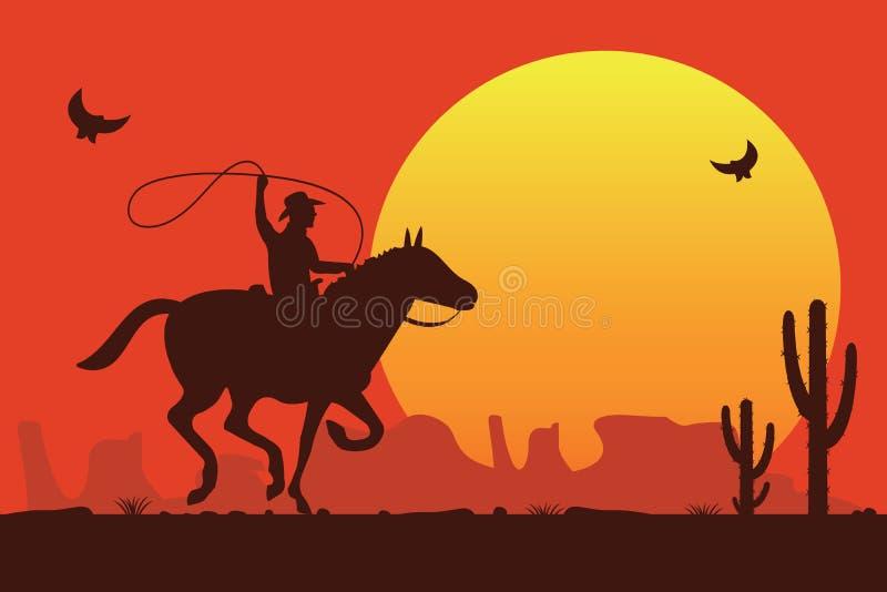 Cowboy de rodéo montant un taureau sauvage illustration de vecteur