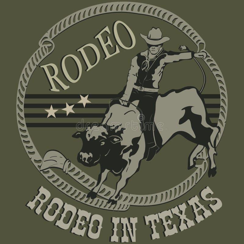 Cowboy de rodéo montant une silhouette sauvage de taureau illustration libre de droits