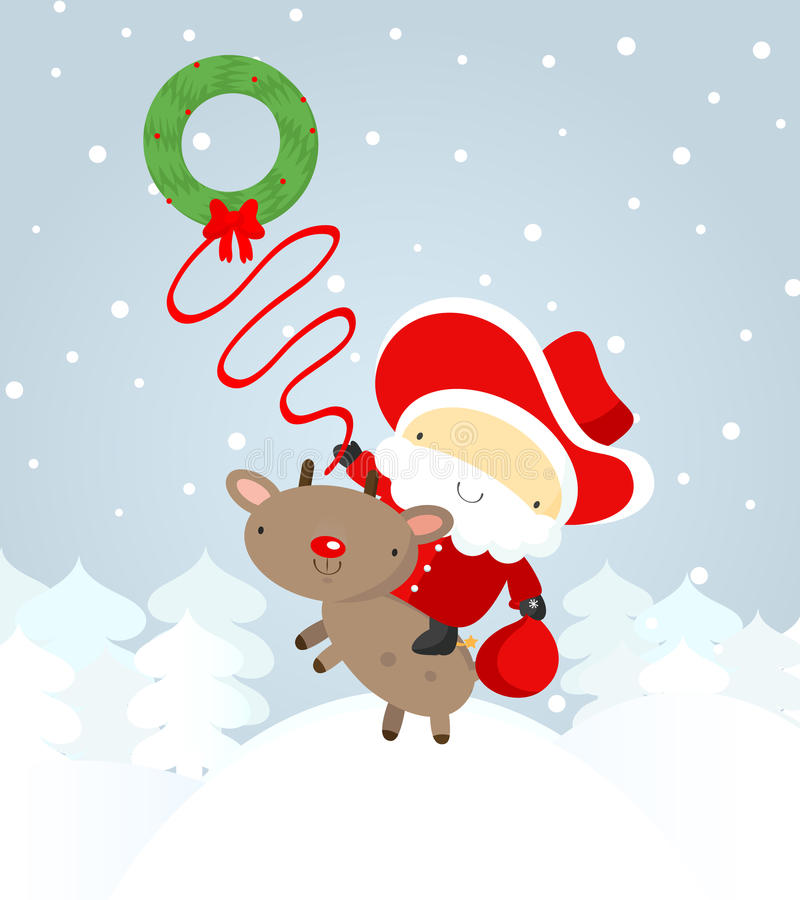 Cowboy de Santa com um lasso ilustração stock