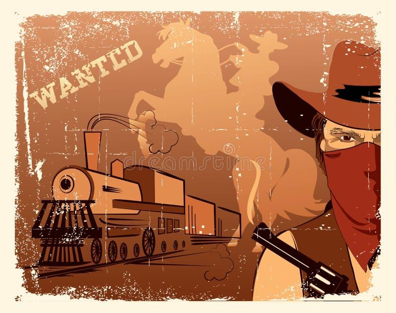Cowboy de vecteur andlocomotive. Occidental illustration de vecteur