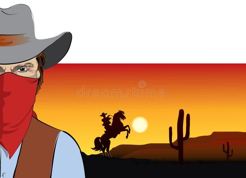 Cowboy de vecteur avec le masque. Bandit illustration stock
