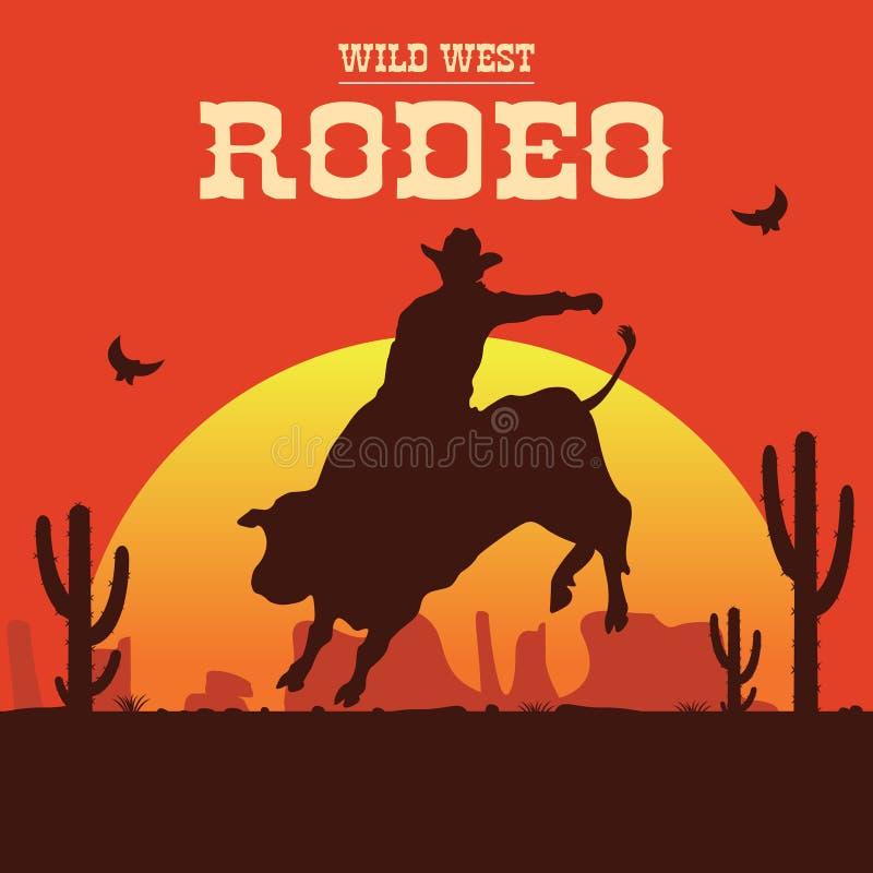 Cowboy del rodeo che guida un toro selvaggio illustrazione vettoriale