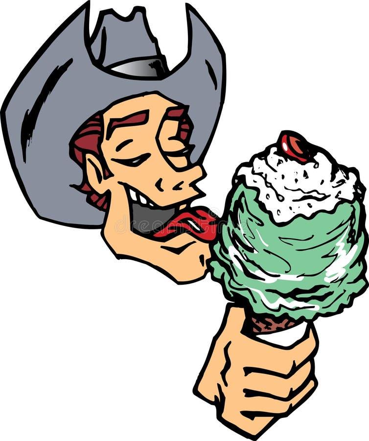 Cowboy, der Eiscreme isst stock abbildung