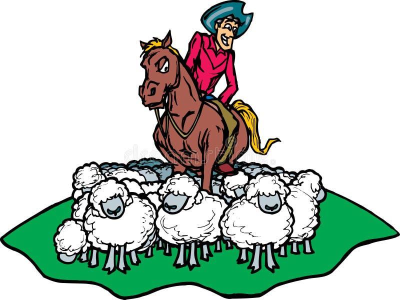 Cowboy, der Schafe in Herden lebt vektor abbildung
