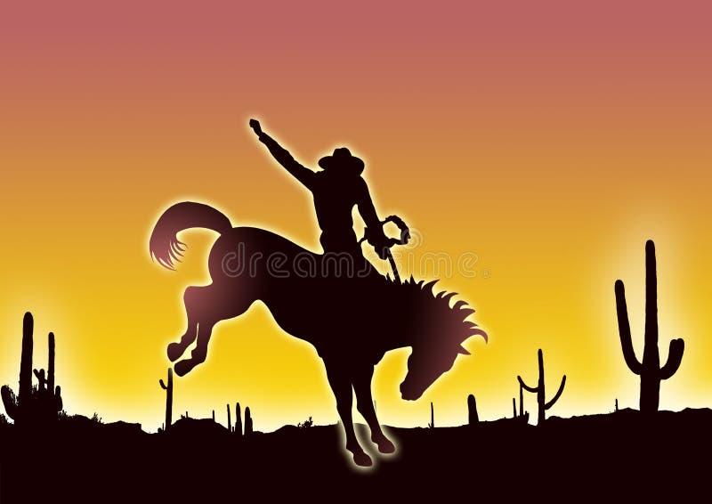 Cowboy in desert royalty free illustration