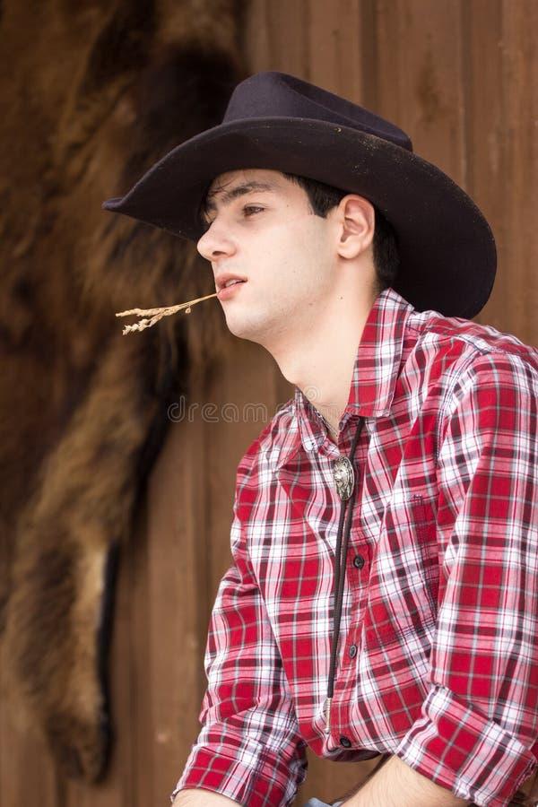 Cowboy die rust hebben stock foto