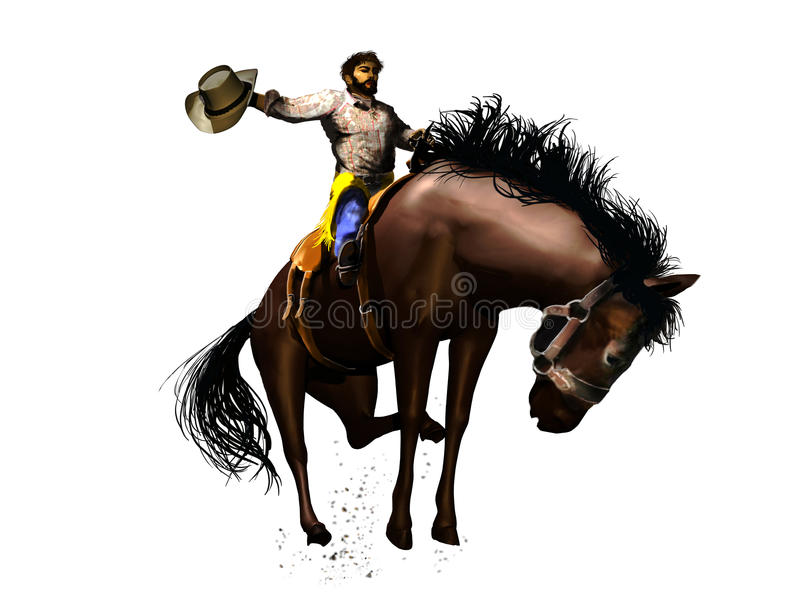 Cowboy do rodeio ilustração stock