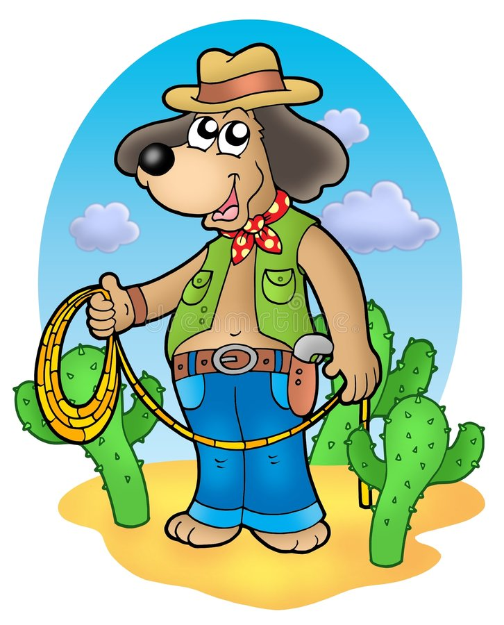 Cowboy dog with lasso in desert royalty free illustration