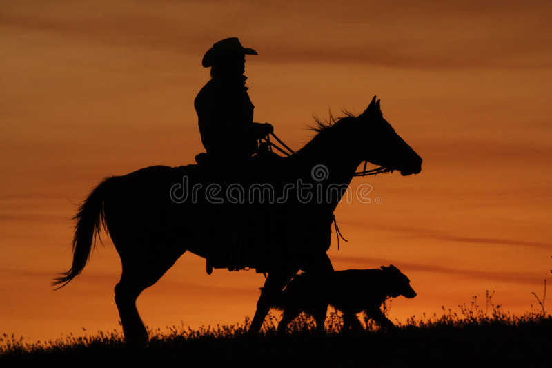 Cowboy and Dog Silhouette royalty free stock photography