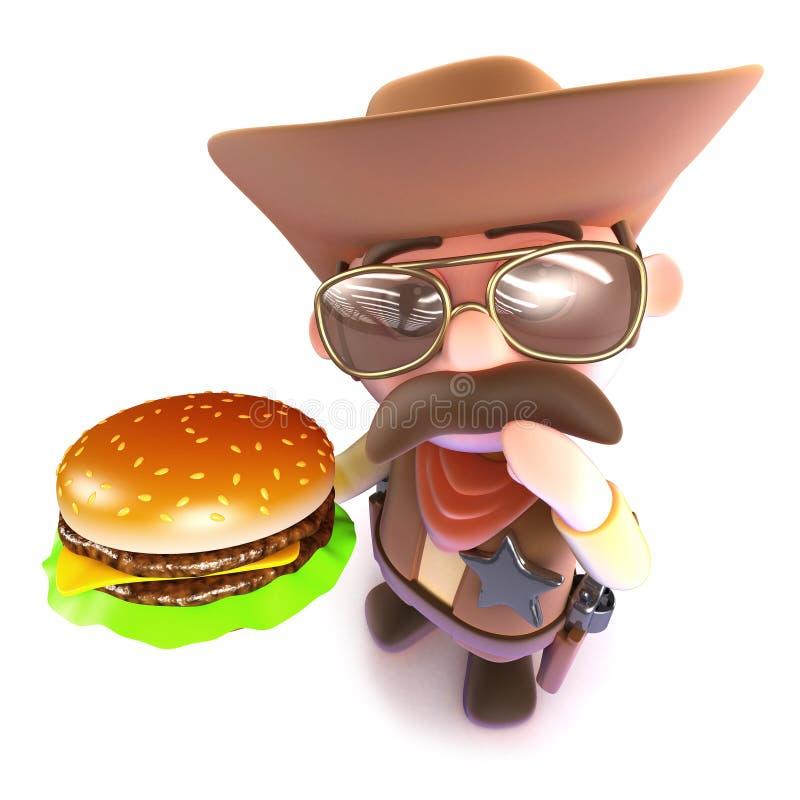 cowboy drôle de la bande dessinée 3d tenant un hamburger de fromage illustration libre de droits