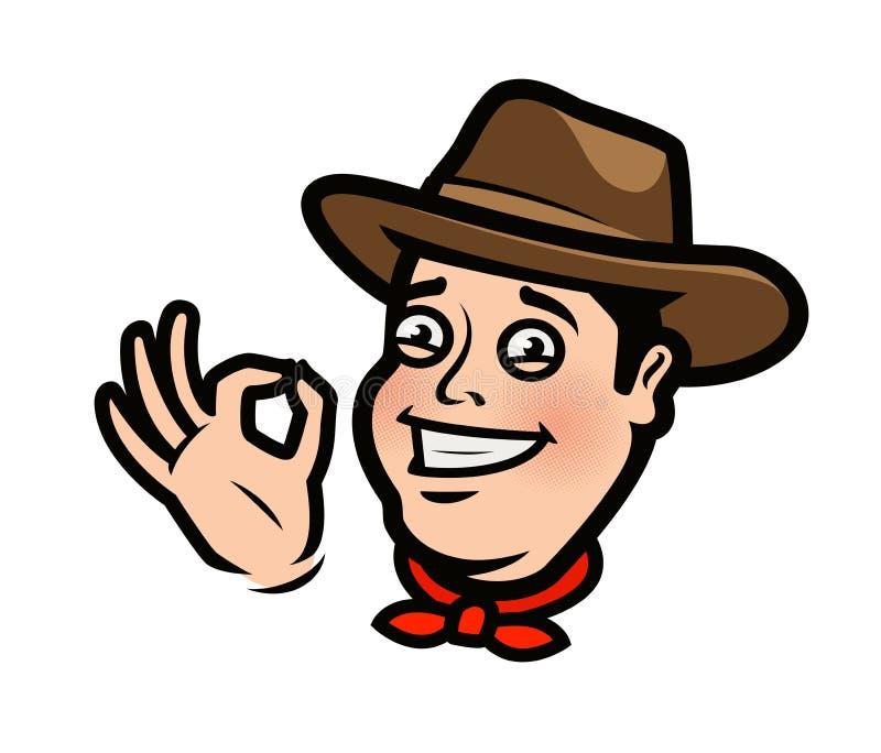 Cowboy drôle ou agriculteur heureux dans le chapeau Illustration de vecteur de dessin animé illustration de vecteur