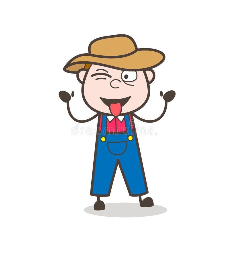 Cowboy drôle Teasing de bande dessinée avec le vecteur collé- de langue illustration libre de droits