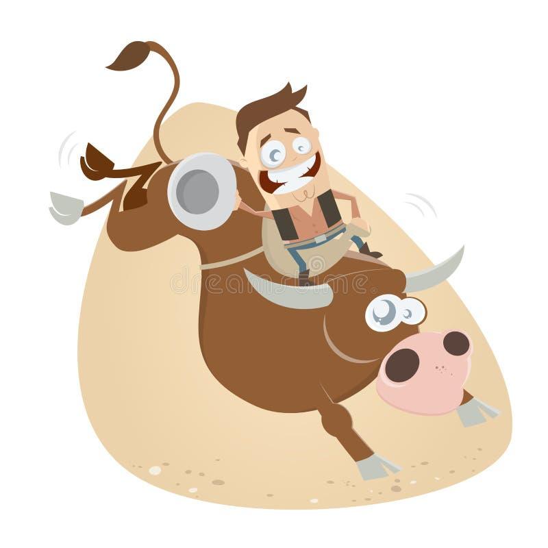 Cowboy drôle d'équitation de rodéo illustration libre de droits