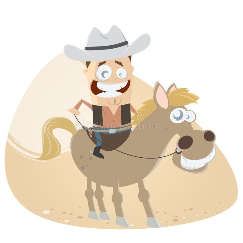Cowboy drôle de bande dessinée et son cheval illustration libre de droits