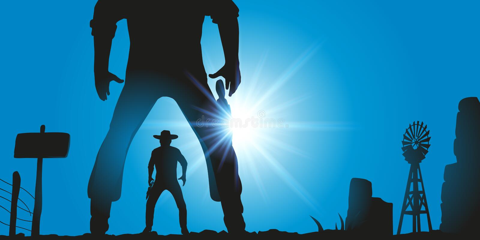 Western scene with two wild west men facing each other to fight in a duel. stock illustration